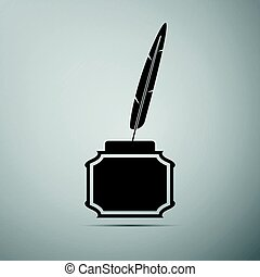 Feather and inkwell flat icon on grey background. Vector Illustration