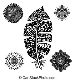 Feather and mandalas