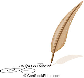 feather and signature vector illustration