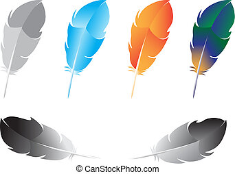 Beautiful multicolored feathers for writing isolated on white background