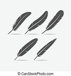 Feather Black Icon - Five black bird feather icon silhouette...