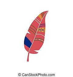 Feather Boho Style Design Element, Ethnic, Mystic Symbol Vector Illustration