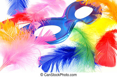 Feather carnival - Blue carnival mask and a lot of beautiful...