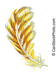 feather - a vivid illustration of a yellow feather