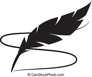 Feather - Black silhouette of feather with line