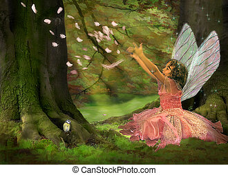 Feather Fairy - Little girl dressed like a fairy in the...