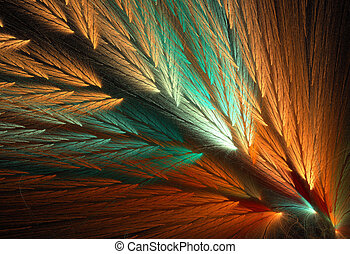 Feather Fractal in Orange and Green - Orange and green...
