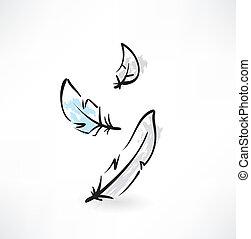 feather grunge icon
