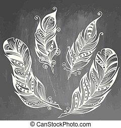 Feather hand drawn vector illustration. Sketch collection. Engraved style set of doodle plumes on chalkboard background