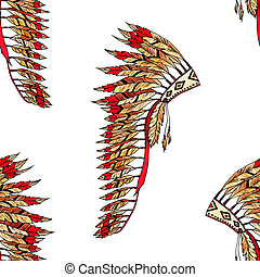 Feather hat color seamless pattern