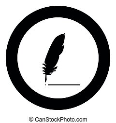 Feather  icon black color in circle