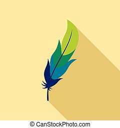 Feather icon, flat style