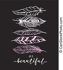 Feather illustration for t-shirt print with lettering