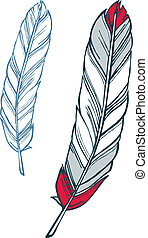 Feather illustration - Hatchet axe drawing with feathers and...