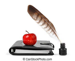Feather in ink bottle and workbook with an Apple isolated