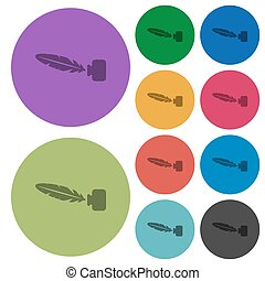 Feather in ink bottle color darker flat icons