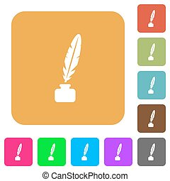 Feather in ink bottle rounded square flat icons