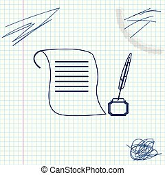 Feather in the inkwell and paper scroll line sketch icon isolated on white background. Vector Illustration
