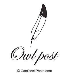 Feather logo owl post
