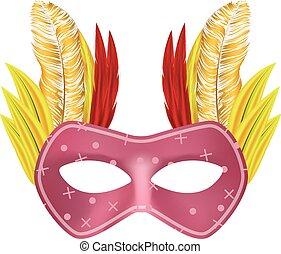 Feather mask mockup, realistic style