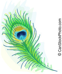 Feather of a peacock. Watercolor style. Vector illustration.