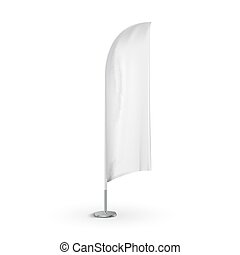 Feather outdoor flag banner. Blank advertising feather mockup stand flag