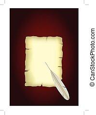 feather., papier, oud, boekrol