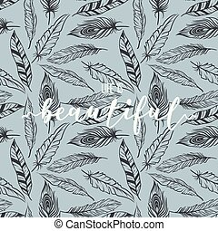 Feather pattern with lettering print design