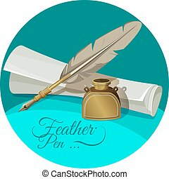 Feather pen and inkwell near paper manuscript vector illustration