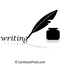 Concept illustration showing a vintage feather pen writing