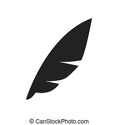 Feather pen icon. Instrument to write. Vector graphic