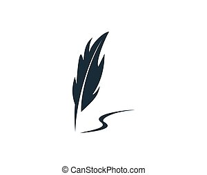 Feather Pen Icon Vector Logo Template Illustration Design
