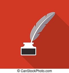 Feather pen in inkwell icon vector