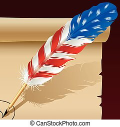 Feather pen in the colors of American flag