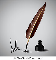 Feather pen ink