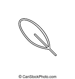 feather pen quill icon, vector ink illustration