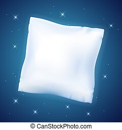 Feather pillow against the starry night sky - White feather...
