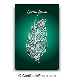 feather postcard vector illustration