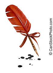 Feather quill and inkwell isolated on white. Ink blots on surface.
