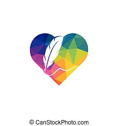 Feather Quill heart shape symbol vector design. Education and publication logo concept.