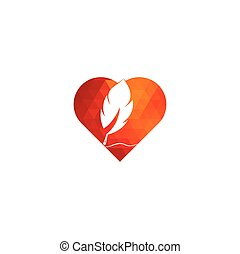 Feather Quill heart shape symbol vector design.