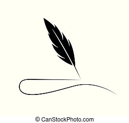 Feather Quill Logo - Quill in black as vintage handwriting...