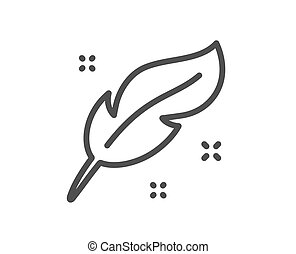 Feather quill pen line icon. Calligraphy nib sign. Vector