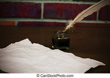 Feather quill pen with metal nib - White feather quill pen ...