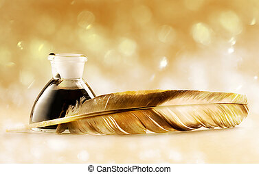 Feather quill - Feather with the bottle full of ink