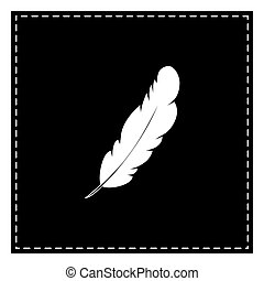 Feather sign illustration. Black patch on white background. Isol