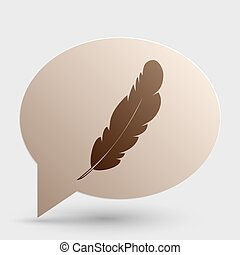Feather sign illustration. Brown gradient icon on bubble with shadow.