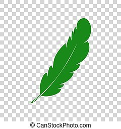 Feather sign illustration. Dark green icon on transparent background.