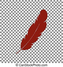 Feather sign illustration. Maroon icon on transparent background