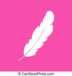 Feather sign illustration. White icon at magenta background.